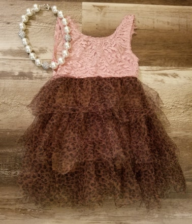 Pink lace tank style dress with layered cheetah tulle skirt.  Back features a deep V.