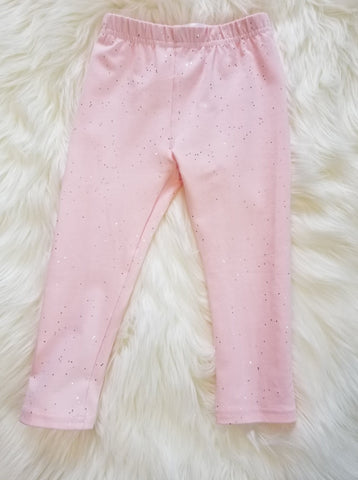 Knit cotton pink leggings with silver sparkles for baby through girls.