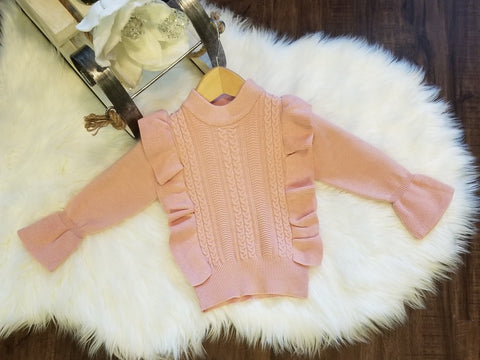 Pink Ruffle Bell Sleeve Sweater