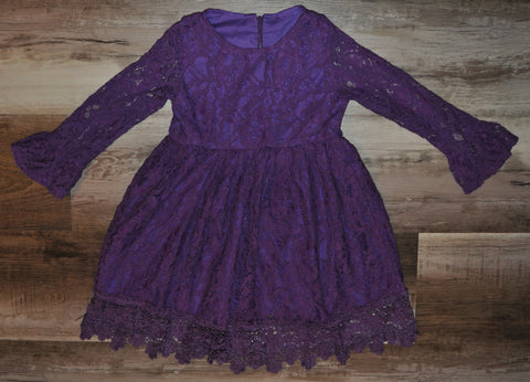 Purple lace bell sleeve dress for toddler girls.