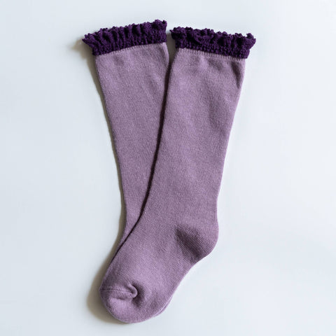 Purple and Plum Lace Top Socks