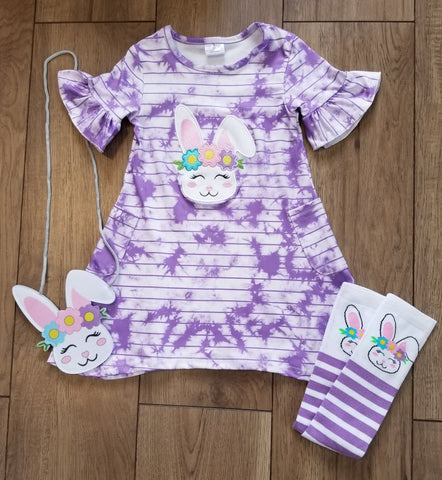 Purple striped tie dye short sleeve dress with felt bunny purse and knee high socks.