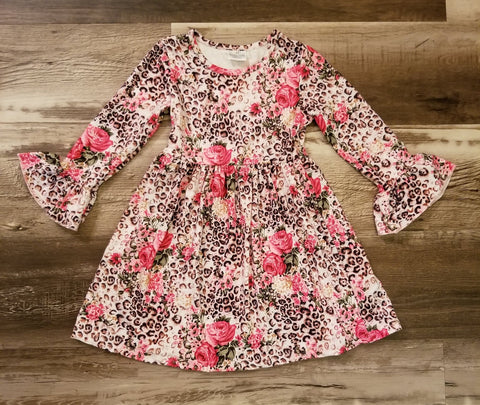 Leopard print bell sleeve dress with roses and assorted flowers mixed in the design.