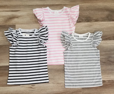 Girls flutter sleeve striped top, available in pink and white striped, black and white striped, or grey and white striped.