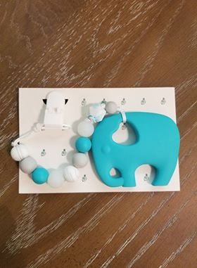 Blue elephant teether with clip