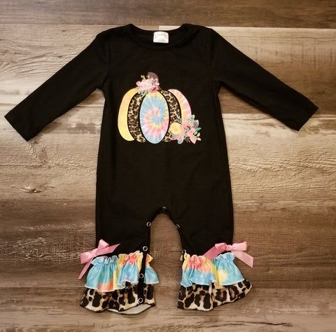 Black long sleeve baby girl romper with tie dye and leopard print pumpkin on front and cute leopard and tie dye ruffles on ankles.