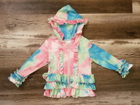Pastel tie dye children's boutique jacket with ruffle details, a full zipper, and a hood.