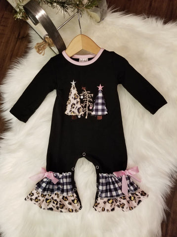 Tree Romper-Leopard and Black & White Plaid