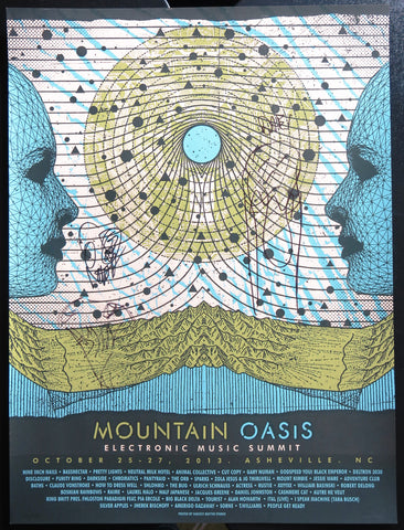 Official Mountain Oasis Electronic Music Summit 2013 Festival Poster - Signed by Animal Collective