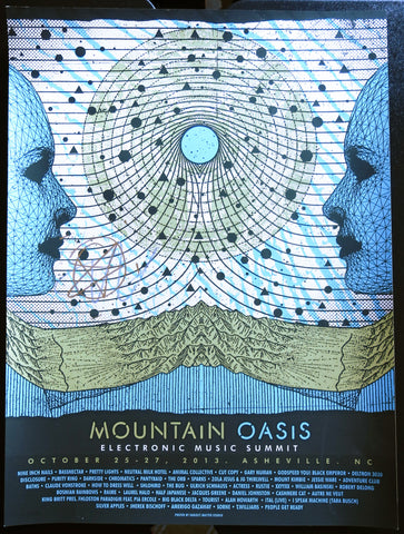 Official Mountain Oasis Electronic Music Summit 2013 Festival Poster - Signed by Bassnectar