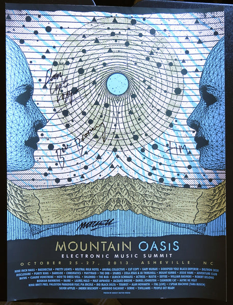 Official Mountain Oasis Electronic Music Summit 2013 Festival Poster - Signed by Cut Copy