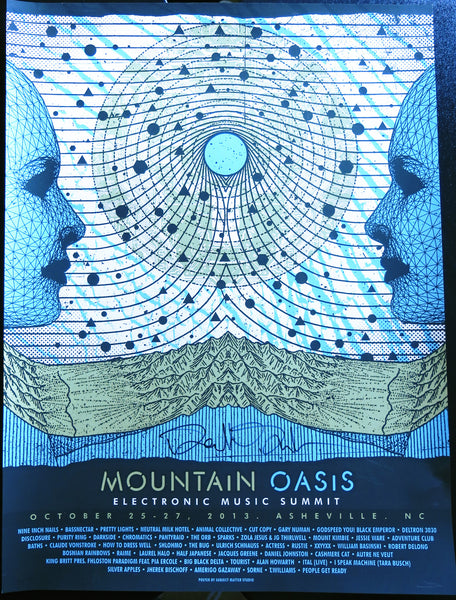 Signed by Derek V. Smith of Pretty Lights Official Mountain Oasis Electronic Music Summit 2013 Festival Poster