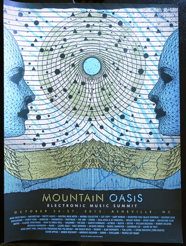 Signed by Jesse Ware Official Mountain Oasis Electronic Music Summit 2013 Festival Poster