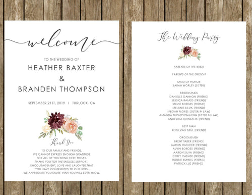 Rustic Elegance Wedding Programs