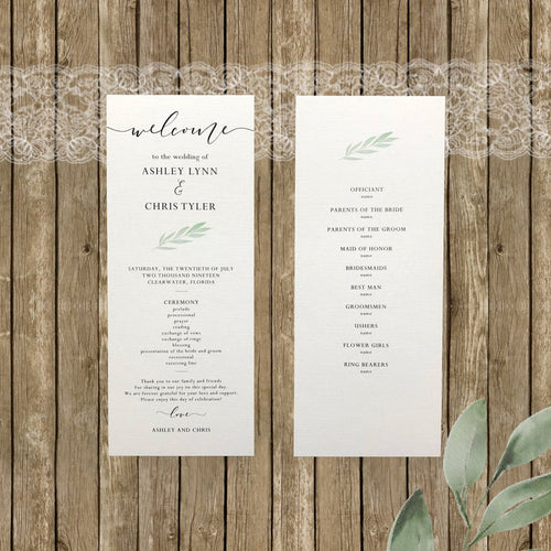 Rustic Elegnace Wedding Programs