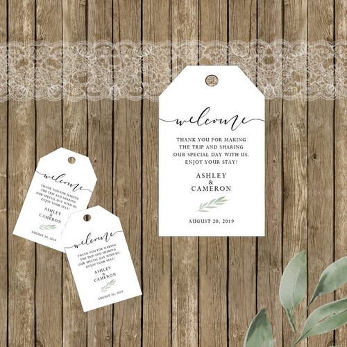 Rustic Elegance Wedding Welcome Tags / Wedding Hotel Bags / Set of 8 / Destination Wedding Tags / Welcome Tags / Greenery
