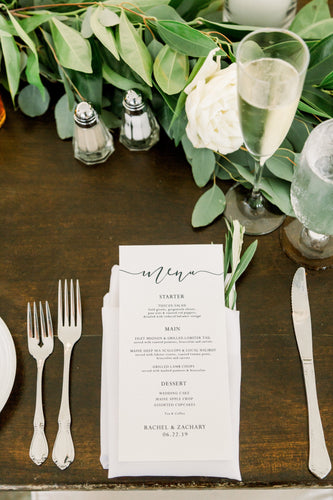 Simply Elegant Wedding Menus