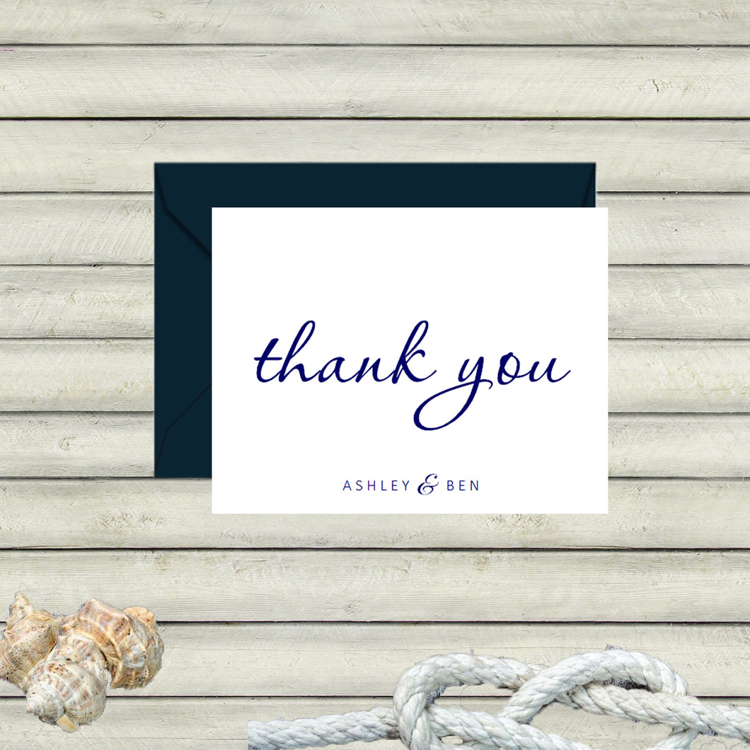 Nautical Thank You Notes / Navy and White / Printed Thank You Notes