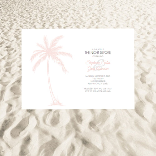 Paradise in the Palms Rehearsal Invites - Pink and Silver