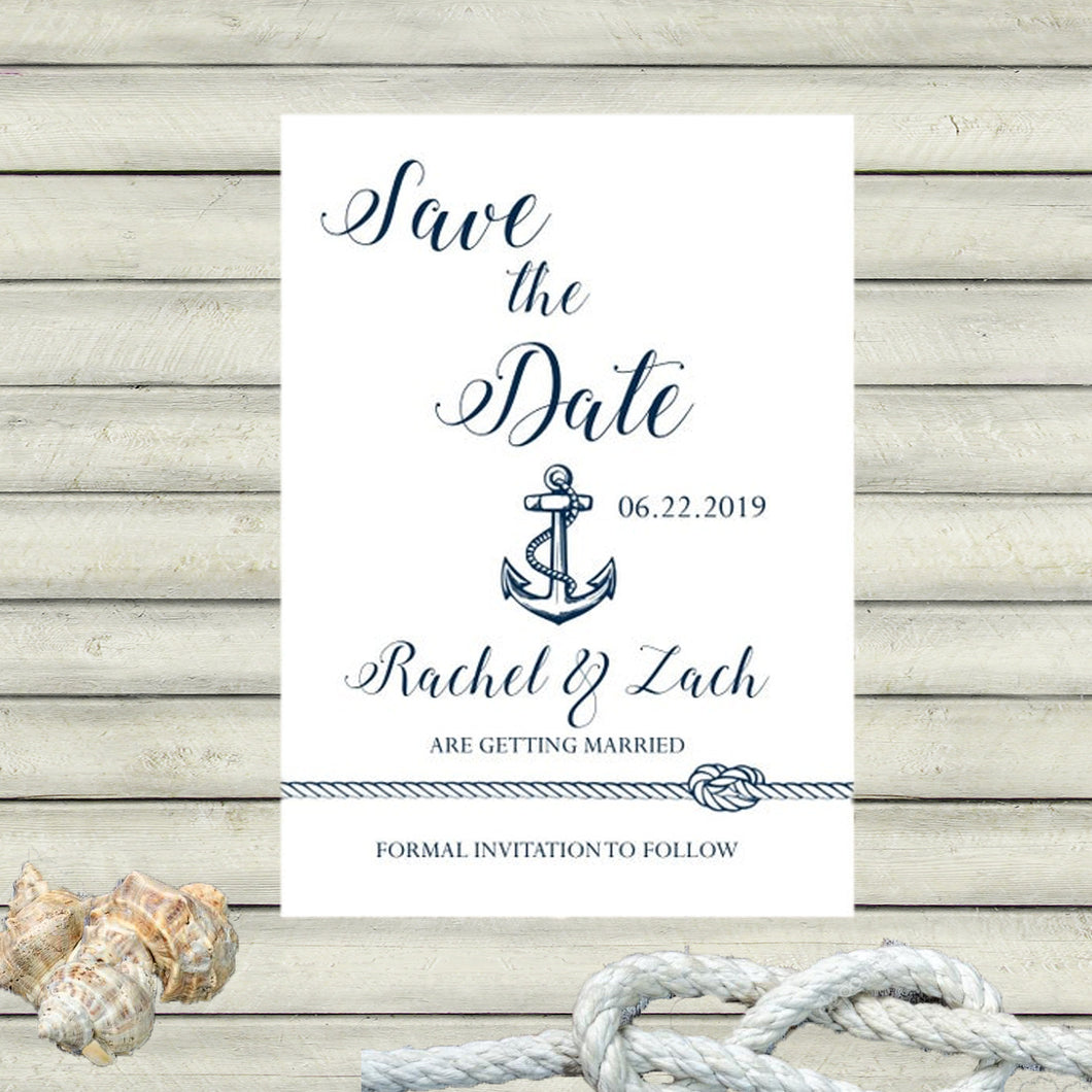 Nautical Save the Dates / Anchor / Navy and White / Wedding Announcement