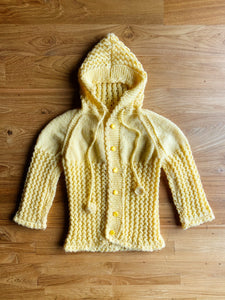 Vintage Hand Crochet Baby Cardigan With Hood | 12m