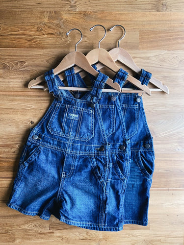 OshKosh B'Gosh Denim Shortalls- Dark Wash | 18m, 2y & 3y