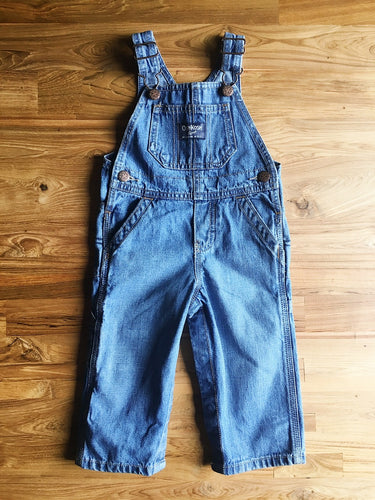 OshKosh B'Gosh Denim Overalls- Light Blue Wash | 12m