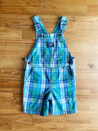 OshKosh Green & Blue Plaid Shortalls | 2y