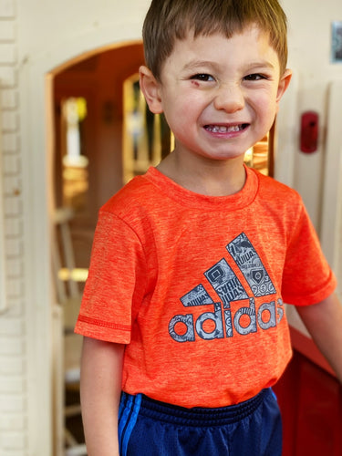 Adidas Short Sleeve Logo T-Shirt (Orange) | 2y
