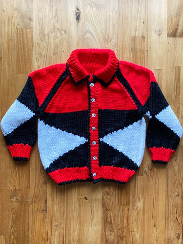 Vintage Hand Knit Happy Face Cardigan | 12y