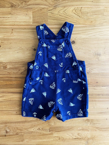 Little Me Navy Blue Sailor Shortalls | 9m