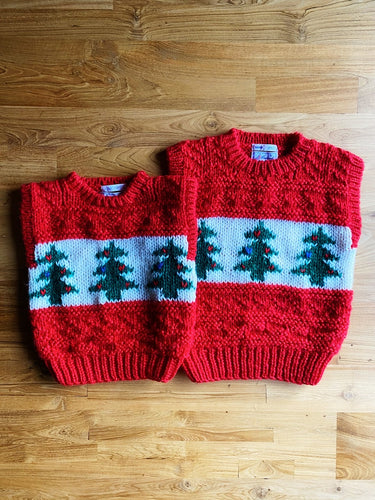 Vintage Windcrest Hand Knit Kids' Christmas Tree Vest | 3y & 8y