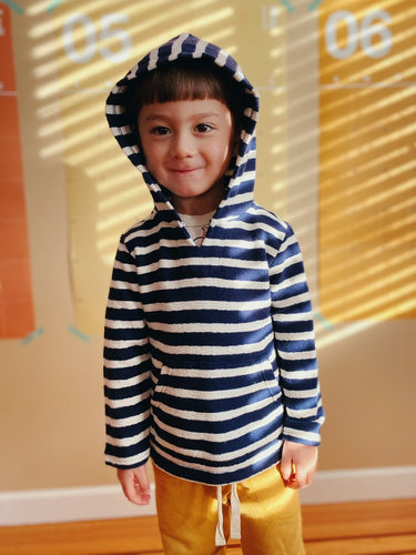 Roots Striped Terry Cotton Hoody | 4y