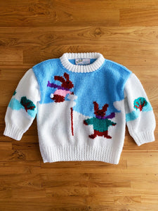 Vintage Hand Knit Snow Bunny Sweater | 3y