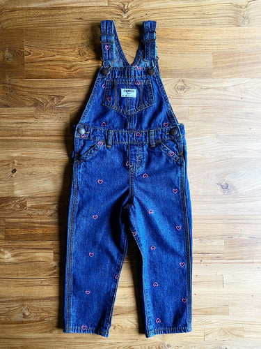 OshKosh B'Gosh Pink Hearts Denim Overalls | 2y & 3y