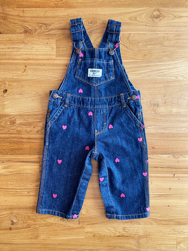 OshKosh B'Gosh Pink Hearts Denim Overalls | 6m