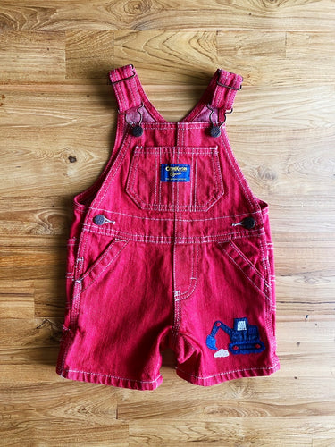 OshKosh Red Denim Shortalls With Digger | 6m