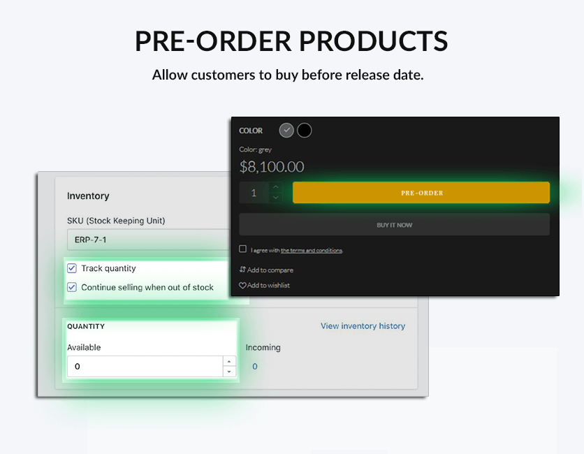 Pre-order product