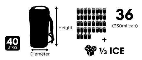 Dry Ice Coolers 40 Litre Backpack Size Guide Chart