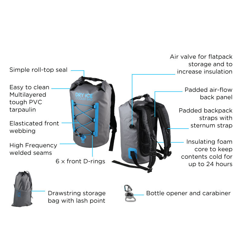 Premium Cooler Backpack Grey – 40 Litres