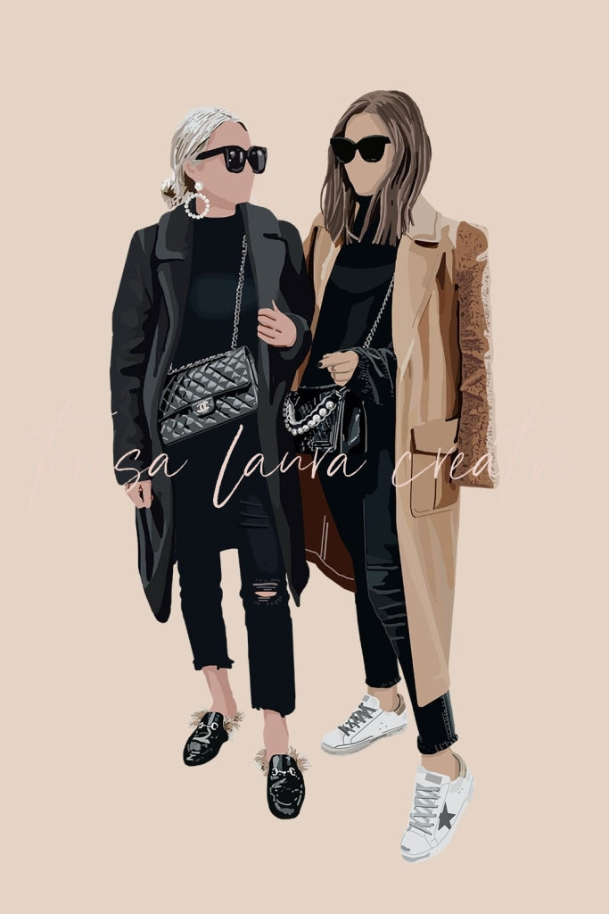 Custom Double Portrait Illustration