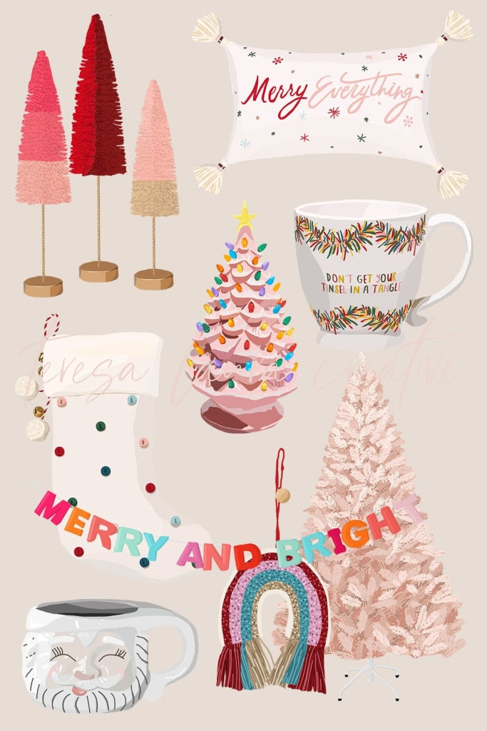 Merry + Bright Christmas Sticker Pack