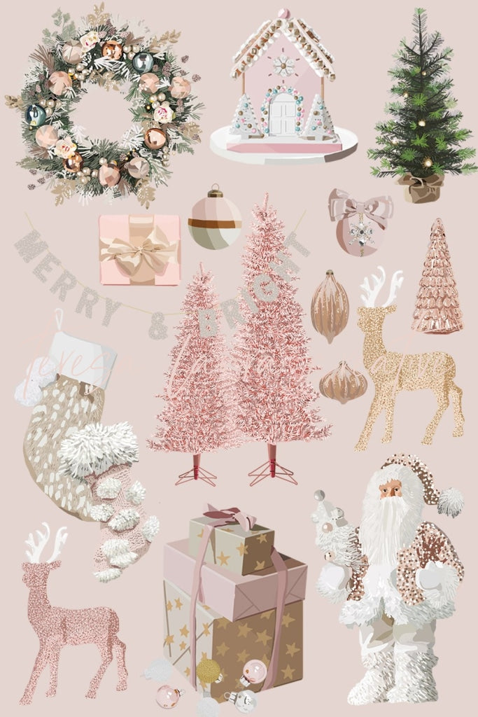 Pink Christmas Sticker Pack