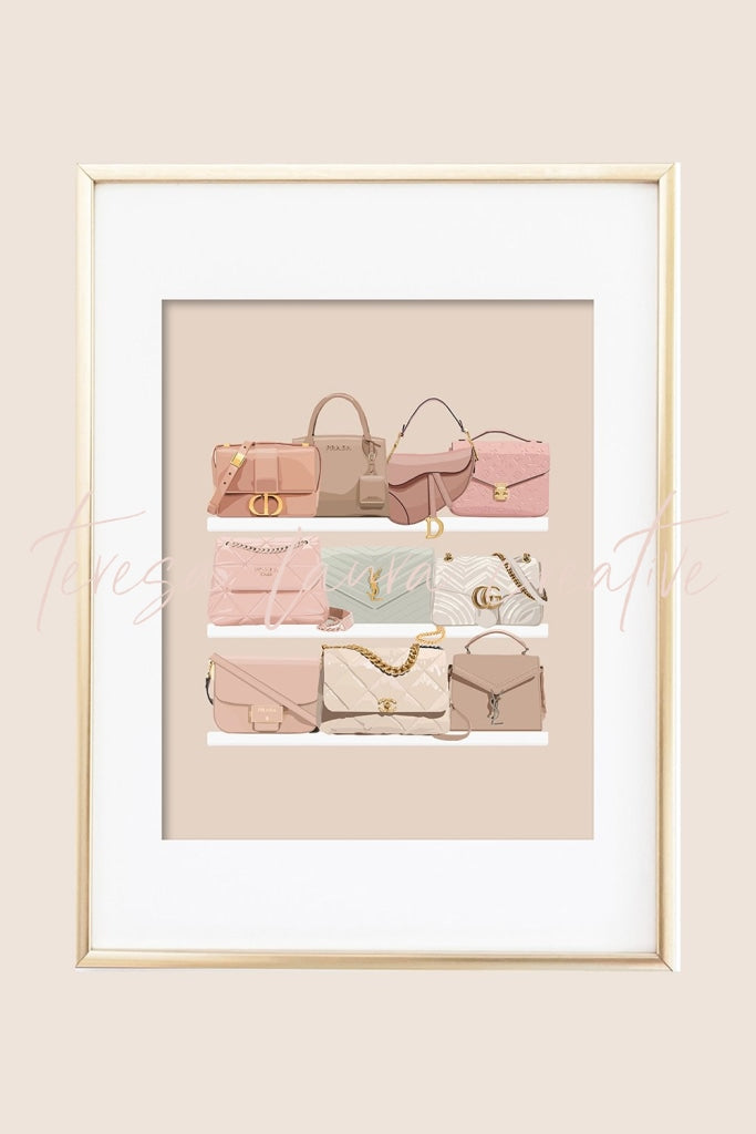 Purse Shelf Illustrated Art Print