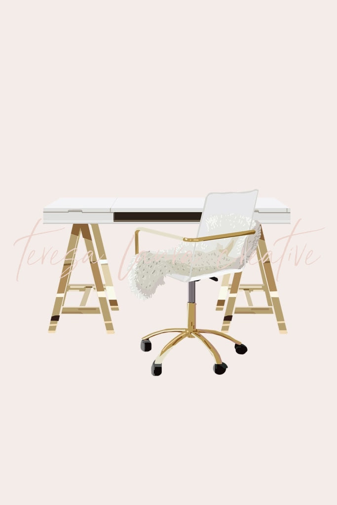 White & Gold Desk And Chair