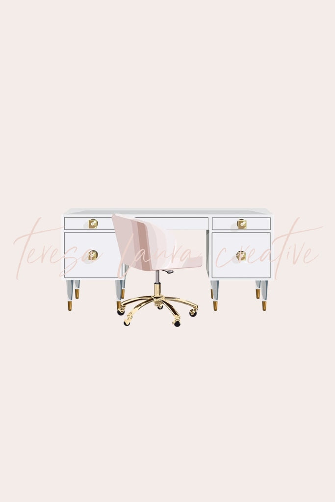White & Gold Desk With Pink Chair
