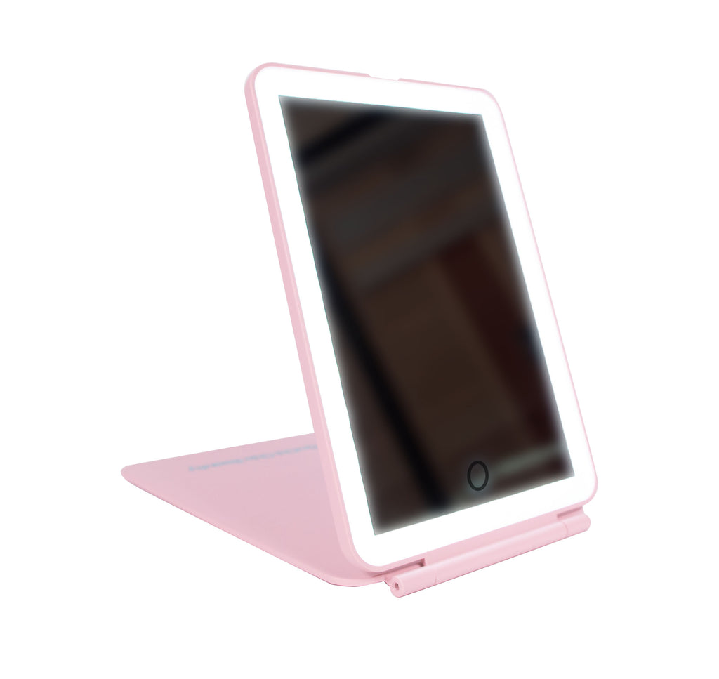 Freestanding Folding Mirror In Rectangle Shape With LED Lights