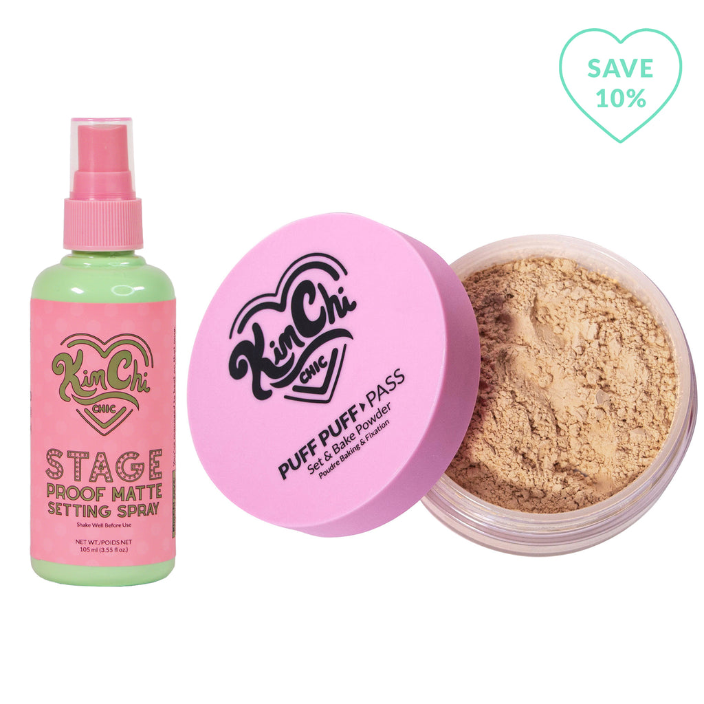 Stage Proof Matte Setting Spray with Puff Puff Pass peachy