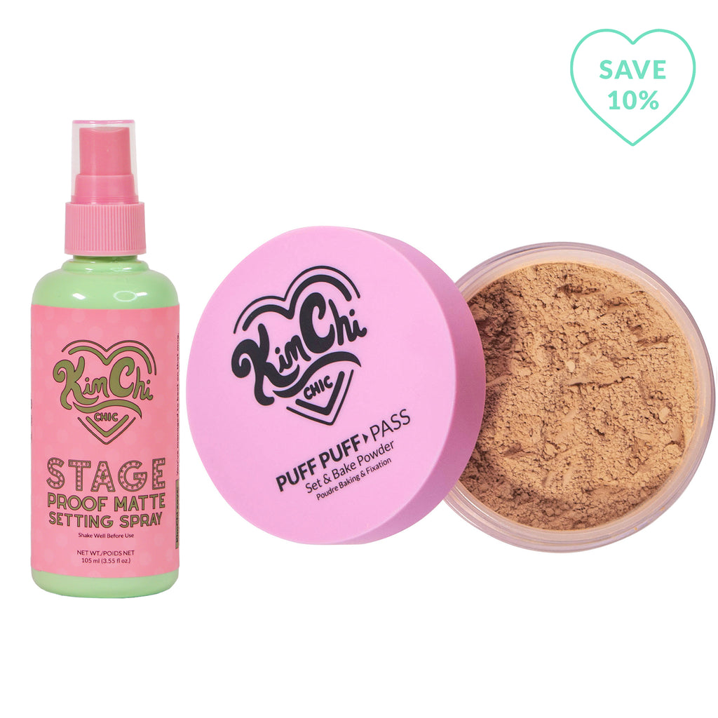 Stage Proof Matte Setting Spray with Puff Puff Pass suntan