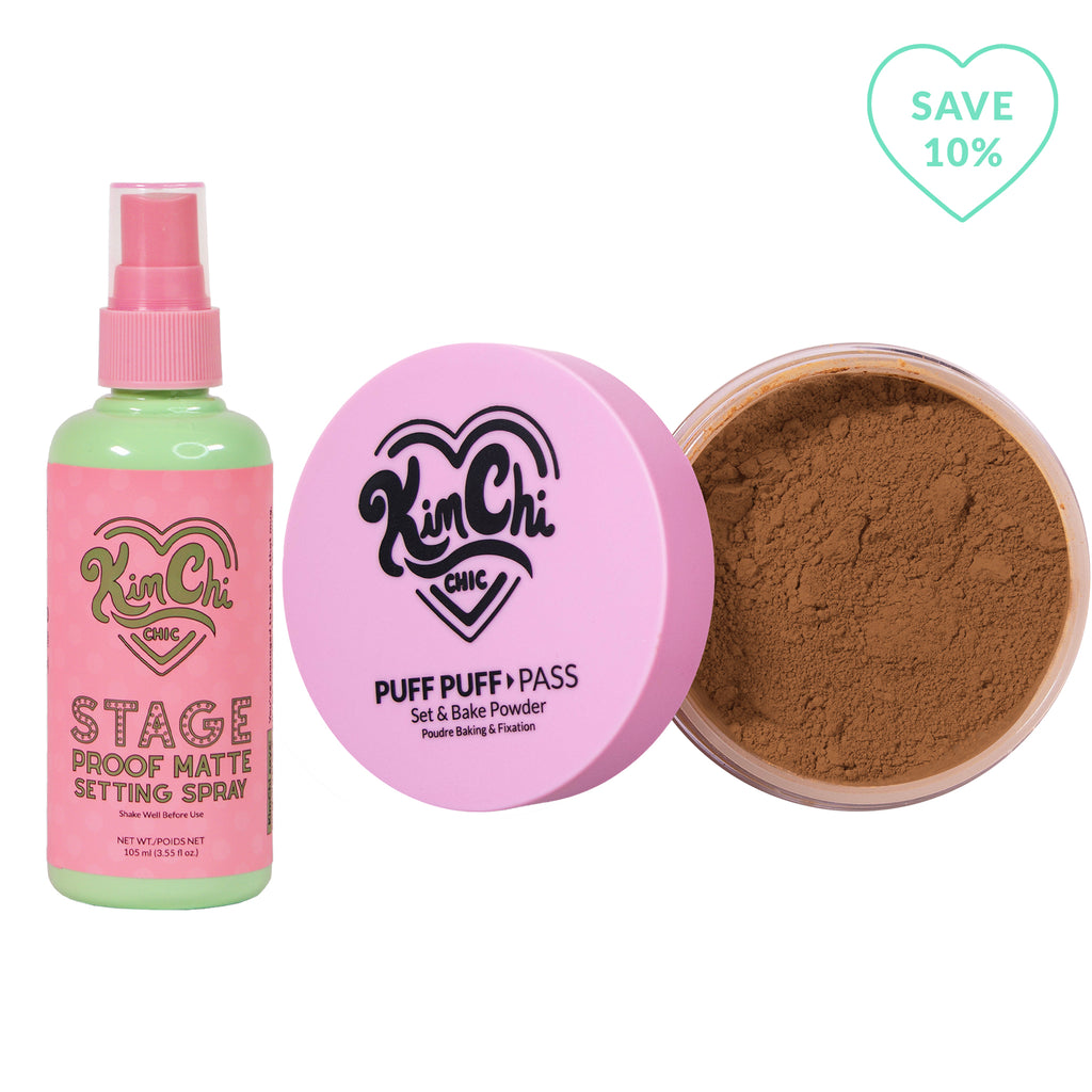 Stage Proof Matte Setting Spray with Puff Puff Pass almond